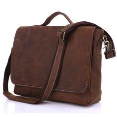 Vintage Handmade Crazy Horse Leather Briefcase / Messenger / 13 14 15 Laptop 13 15 MacBook Bag