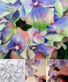 Learn to paint online how to paint a hydrangea in watercolor