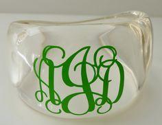 Clear Resin Monogram Bracelet. $22.00, via Etsy.
