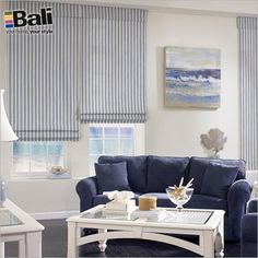 Blinds.com Gallery - Shown as:Cotton Stripe color Marine, Seamless shade with standard valance