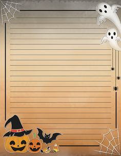 Free printable Halloween stationery for x 11 paper. Available in JPG or PDF format and in lined and unlined versions. Printable Lined Paper, Free Printable Stationery, Lined Writing Paper, Halloween Frames, Digital Paper Free, Stationery Paper, Note Paper, Journal Cards, Bunt
