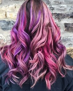 Pink and purple color melt. Hairstyles. Eufora color.