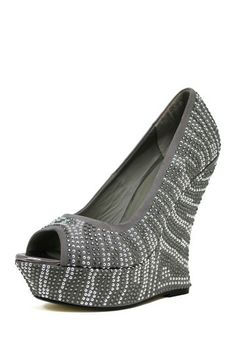 Mixx Shuz Glamour Rhinestone Curved Heel Wedge by Non Specific on @HauteLook