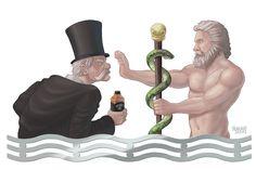Asclepius (God of medicine) VS a Snake Oil Salesman, commissioned on ArtCorgi.com