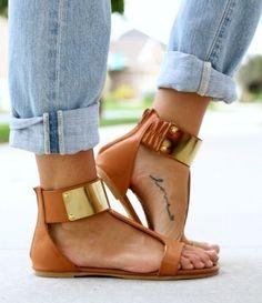 Metal cuff sandals.