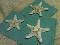 Aqua Starfish Plaques  Wall decor  Set of  3  by VintageShore, $25.00