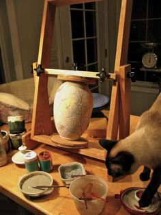 JoAnn F. Axford: A Pottery Easel! (with cat)