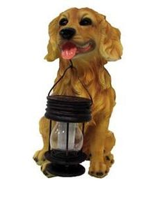 "Golden Retriever Dog With Lantern Solar Light (Yellow) . $41.91. LED bulb never burns out  Up to 10 hours of light when dark  LEDs can last up to 100,000 hours  Batteries are rechargeable and should last for approximately 2 years before replacing  Ideal for areas where conventional electrial supply is not available  Product size approx 14.5"" X 7"" X 12""  Lantern has 1 LED, it can be separate from the hook of the dogs mouth. Lantern dimension is 3.3""diameter, 5.5"" Heig..."