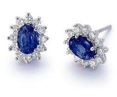 sexy sapphire and diamond earrings... Sapphire And Diamond Earrings, Sapphire Jewelry, Diamond Jewelry, Blue Sapphire, Oval Diamond, Gold Earrings, Cluster Earrings, Pearl Jewelry, Blue Nile Jewelry