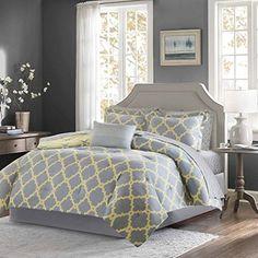 9 Piece Modern Fretwork Pattern Designed Comforter Set Ca...