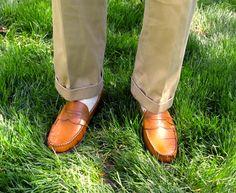 Allen Edmonds Cavanaugh penny loafers in Tan, with yellow Marcoliani crew socks.