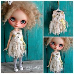 Blythe doll outfit *Daisy fairy outfit* OOAK vintage embroidered dress