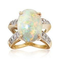 Ross-Simons - C. 1990 Vintage Opal and .65 ct. t.w. Diamond Crisscross Ring in 14kt Yellow Gold. Size 5.5 - #883128