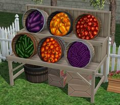 TS1Unleashed Produce Stand Remade for TS2(At last, it is done :D I must admit that I'm pretty proud of myself.)Here is a grocery display from which can also be purchased the Seasons vegetables. Those can be brought individually, or in bulks of five, ten and twenty-five. Just like the regular groceries, it'll  require a cash register on the lot to do so.Found under appliances/large on both home and community lots. However, it will not be functional on residential lots (unless of course, said…