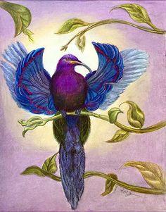"Bird of Paradise 1 by Alma Lee color Pencil ~ 12"" x 9"