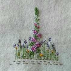 OOAK Hand embroidered floral keepsake card for any occasion. Purple hollyhock surrounded by lavender and buttercups on ivory coloured wool felt background. Card is white, 200gsm, and measures 5 by 5. The embroidered centerpiece measures 3 by 3.5 It is blank on the inside for your own message
