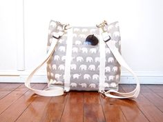 Large Backpack Convertible Nappy Diaper Bag - Choose Your Elephant Color (Made to Order)