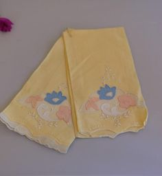 Beautiful Set of 2 Yellow Vintage Hand Towels by TwoCatsVintage, $6.00