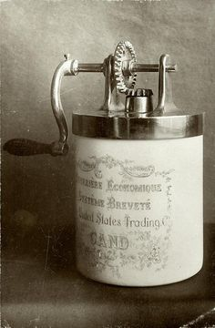 "Butter churn (""butter machine,"" table model), invented in 1912."