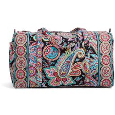 Vera Bradley Large Duffel Travel Bag in Parisian Paisley ($85) ❤ liked on Polyvore featuring bags, luggage, bridal party gifts, gifts and parisian paisley