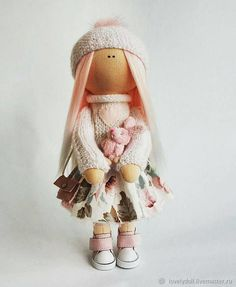 Textile doll Angel pink - angel, guardian, white, pink, angel