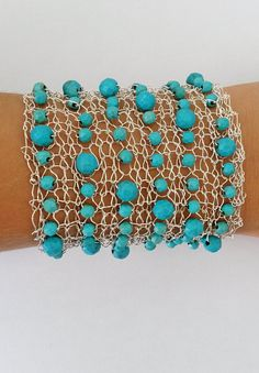 Wide Turquoise wire knitted bracelet cuff by LavishGemstone Wire Wrapped Earrings, Wire Earrings, Wire Jewelry, Jewelry Crafts, Jewelry Art, Beaded Jewelry, Handmade Jewelry, Jewelry Design, Knit Bracelet