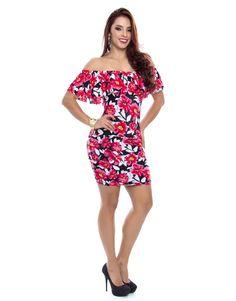 3dc75edb1 Vestido V-2048-A Vestido corto estampado en flores