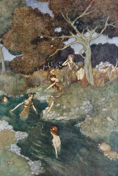 Iris.- You Nymphs, call'd Naiads... Shakespeare's Comedy of 'The Tempest' (Act IV, scene I) illustrated by Edmund Dulac (1908)