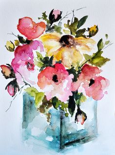 ORIGINAL Floral Watercolor Painting, Colorful Flowers, Poppies, Daisies 6x8 Inch