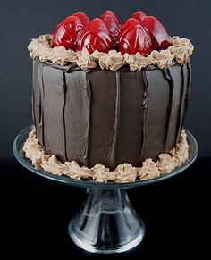 Display Fake Food's Chocolate Strawberry Cake On Pedestal