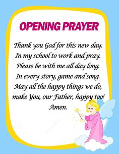 Opening and Closing Prayers in School (Ready to Print) - DepedClick Classroom Prayer, Classroom Door Signs, Classroom Charts, Classroom Quotes, Future Classroom, Classroom Decor, Closing Prayer, Opening Prayer, Funny Songs For Kids