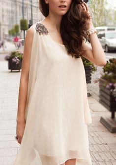 Apricot Sleeveless Irregular Hem Loose Dress - Sheinside.com