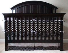 Custom Crib bedding - Black and White.