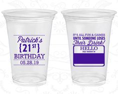 21st Birthday Soft Sided Cups, Finally Legal, Finally 21, Name Tags for Birthday, Disposable Birthday Cups (20276)