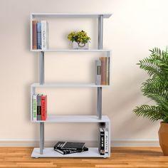 HOMCOM Wooden Bookcase S Shape Storage Bookshelf Display for Living Room, Bedroom, Office with Steel Frame, White Party Gazebo, Bbq Gazebo, Gazebo Canopy, Canopy Outdoor, Grill Canopy, Steel Gazebo, Youth Rooms, Wooden Bookcase, Fabric Bins