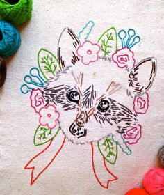 Forest pals, the raccoon, the deer and the fox cub PDF embroidery pattern instant download