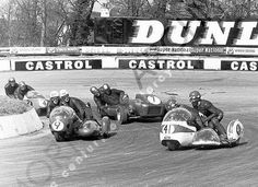 Bit busy at the Mallory Park hairpin...Terry Vinicombe leading Pip Harris,Owen Greenwood and ?? Fritz Sheidegger ??