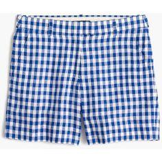 J.Crew Lightweight Short ($71) ❤ liked on Polyvore featuring shorts, gingham, print shorts, j. crew shorts, short shorts, patterned shorts and lightweight shorts