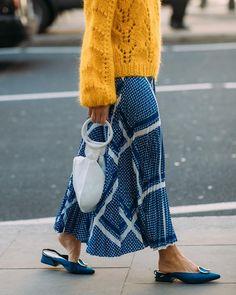 Colour pop, maxi skirt, yellow Ganni sweater