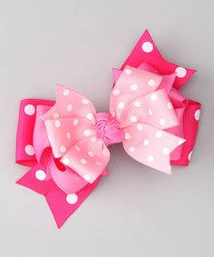 Take a look at this Pink Polka Dot Bow Clip by Bubbly Bows on #zulily today!