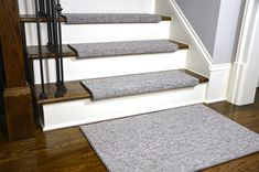 Dean Premium Pet Friendly Tape and Adhesive Free Non-Slip Bullnose Carpet Stair Treads – Dakota Fossil Gray Plus a Matching x Landing Mat – Grey Carpet Grey Carpet, Modern Carpet, Bullnose Carpet Stair Treads, Stair Tread Rugs, Hardwood Stairs, Carpet Trends, Carpet Ideas, Best Carpet, Woodland Nursery Decor