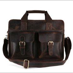 "ROCKCOW Vintage Leather Laptop Bag 13"" Messenger Handmade Briefcase Crossbody…"
