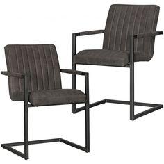 Wohnling 2er Set Esszimmerstühle Magnus anthrazit WL5.137 aus weichem Mikrovelour in Wildlederoptik und Metall #Vintage Look #Esszimmer #Küche #Stoff #Metall #Set