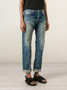 Tu Es Mon Tresor Pearl Detail Boyfriend Jeans.