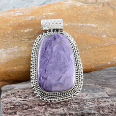 Artisan Crafted Siberian Charoite Pendant without Chain in Sterling Silver (Nickel Free)