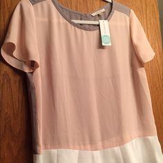 41Hawthorn Timian Peplum Blouse pink, taupe, & white peplum short sleeve blouse with buttons up the back; size medium; new with tags, from Stitch Fix 41Hawthorn Tops Blouses