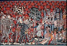 Moors and Wild Men in Battle. German tapestry showing Barbarian attacking a Castle defended by a Moorish king and his people in medieval Germany.