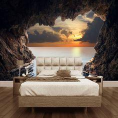 Пользовательские фото обои 3D стереоскопического пещера seascape Восход ТВ Фон Современная фреска обои Гостиная Спальня стены Книги по искусству