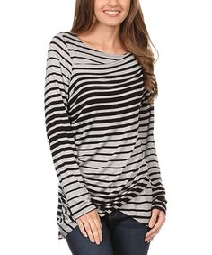 Take a look at this Gray & Black Stripe Tulip Top - Plus today!