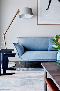Color Walls, Wall Colors, Light Blue Couches, Love Seat, Google Search, Room, Furniture, Home Decor, Bedroom